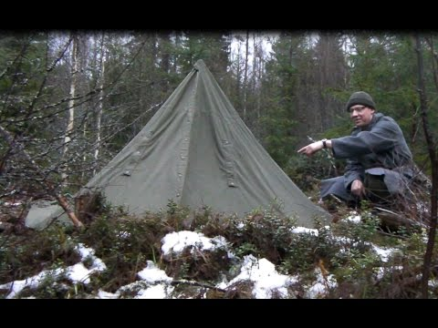 Polish military tent heated with rocks / Wool blanket at -3C / Overnight