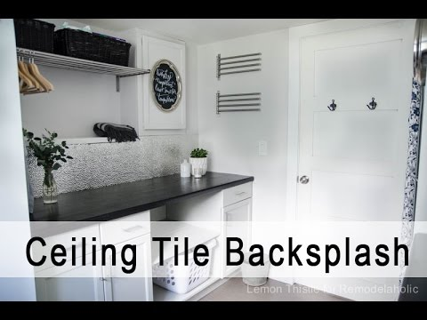 Metal Ceiling Tile Backsplash Tutorial Remodelaholic