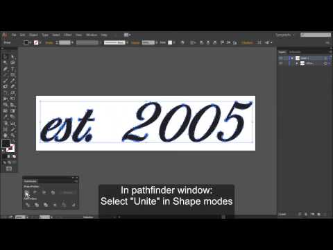 Stroke text, Expand to paths and merge into single object in Adobe Illustrator