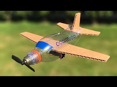 How to Make Flying Airplane at Home from Plastic Bottle and Cardboard