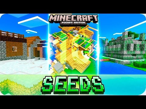 Minecraft PE Seeds - TOP 10 BEST Starting Seeds - MCPE 1.2 / 1.1 Villages, Temples, Biomes