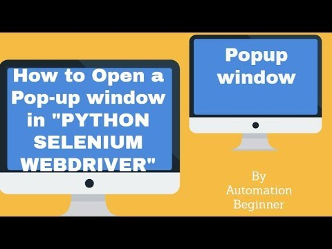 how to open a popup window using selenium webdriver python || how to handle popup window