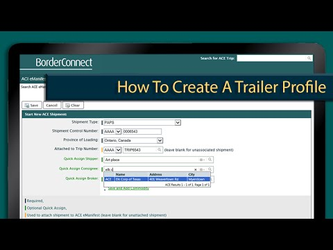 How to create a trailer profile in BorderConnect