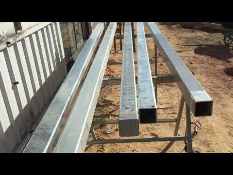 How to set steel posts in concrete.