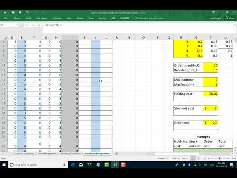How to perform a Monte Carlo Inventory Management simuation in excel