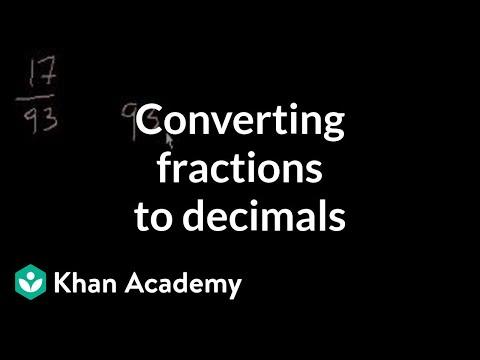 Converting fractions to decimals | Decimals | Pre-Algebra | Khan Academy