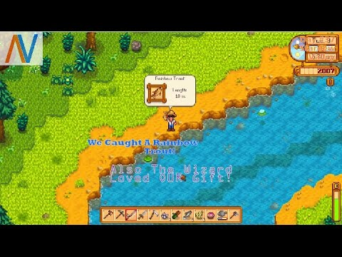 Finishes: Stardew Valley Day #37 Rainbow Trout! Plus We Give The Wizard A Present! Nyth4wk