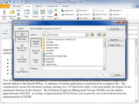 Outlook 2010 Insert a Hyperlink to an Office Document