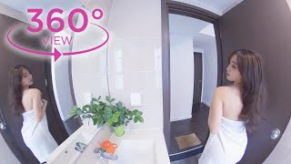 VR 360° Cute girl changing clothes in bathtub | Get ready with me | Pet And Bae