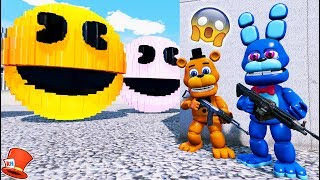 ADVENTURE ANIMATRONICS vs GIANT EVIL PACMANS! (GTA 5 Mods For Kids FNAF RedHatter)