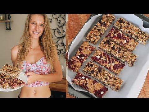 VEGAN GRANOLA BAR RECIPE 2 WAYS | OIL FREE & GLUTEN FREE ( trail mix & peanut butter and jelly)