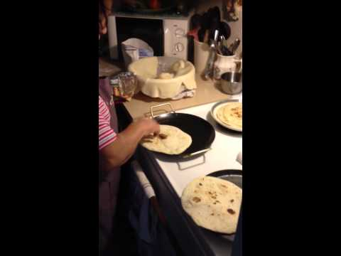 Grandma making Flour Tortillas