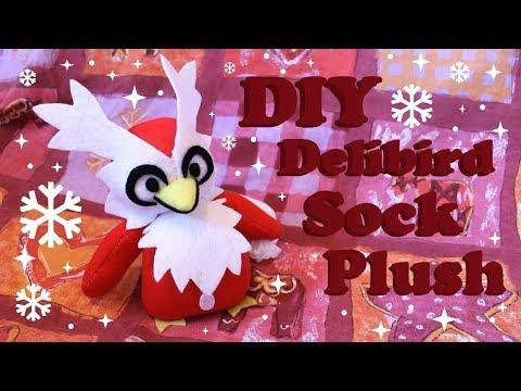❤ DIY Delibird Sock Plush! How To Make A Cute Pokemon Plushie! ❤