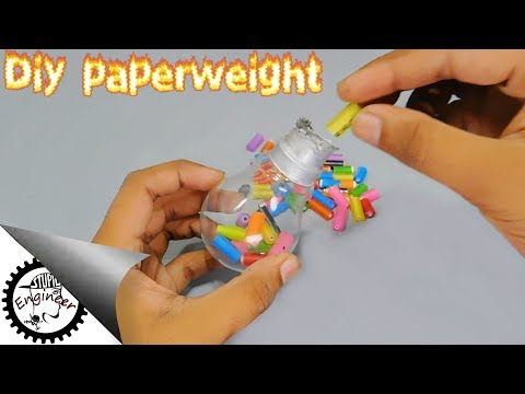 Diy paperweight by using wasted pen and wasted balb light | homemade paperweight | Stupid Engineer.