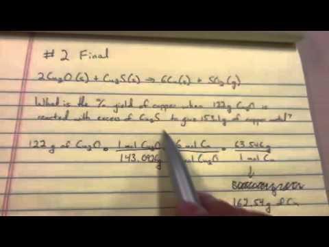 Chemistry 161: Reaction Yields: Sample Final Exam, #2