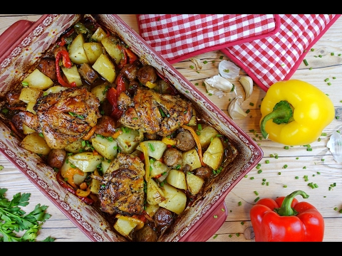 How To Make Roasted Chicken, Sausage, Potatoes, Peppers and Onions