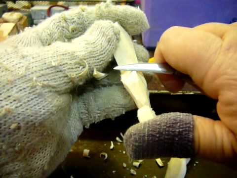how to carve a wood doll leg