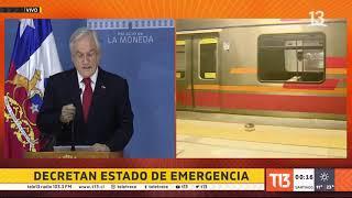 Presidente Piñera decreta Estado de Emergencia tras disturbios en Santiago