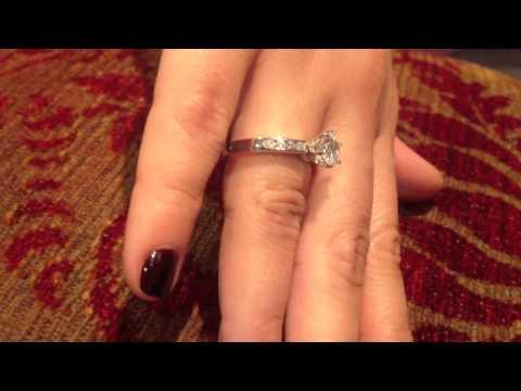 High quality round 1.25 cz platinum engagement  ring
