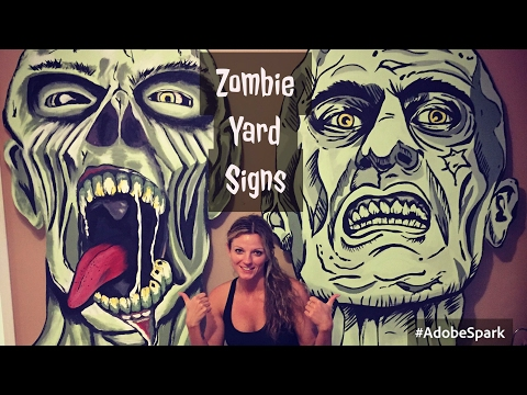 DIY ZOMBIE SIGNS - Halloween Outdoor Yard Prop Decoration -Walking Dead