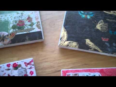 Ceramic Tiles covered in scrapbook paper to make pretty coasters!