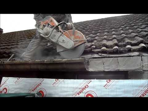 Cutting Concrete Gutters Off With a Stihl Saw