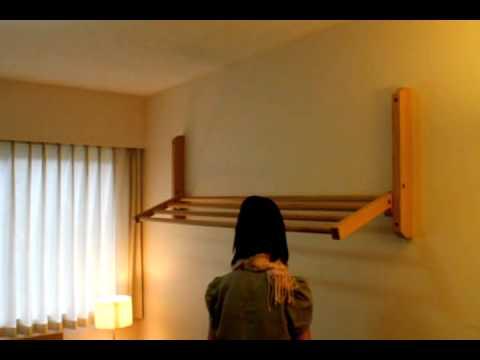 Hogan Wood wall mount clothes drying rack demo.avi