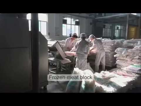 Automatic frozen meat slicing and grinding machine