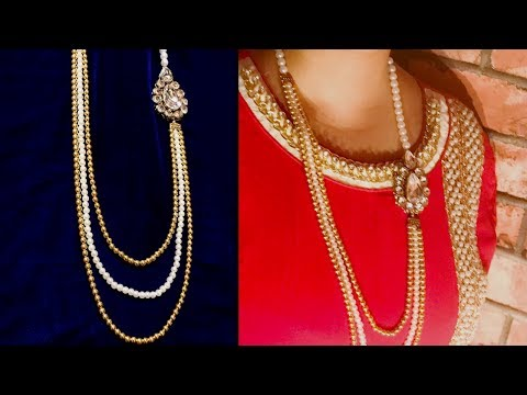 Pearl Necklace with Carved Golden Beads | Make Artificial Jewelery at Home