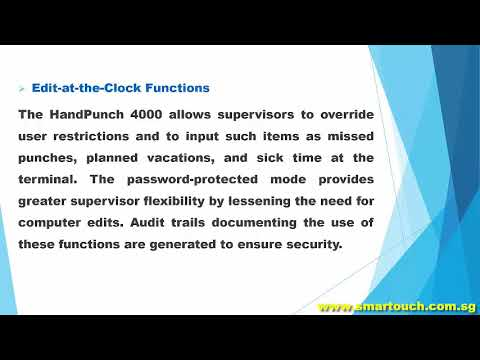 Access Control System Johor Integrated with HandPunch Time Clock 4000 Special Features and Demo
