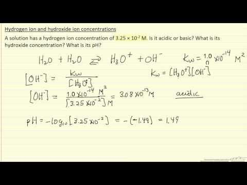 Hydrogen Ion and Hydroxide Ion Concentrations (Example)