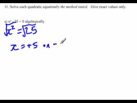 Quadratic equation : Find x-intercepts algebraically