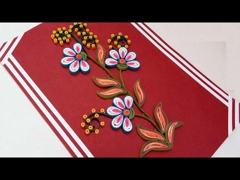 ☑️Paper Quilling ⏭How to Make Beautiful Quilling flowers design ❤Happy Birthday Greeting Card