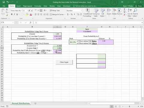 Excel 2016 from Probability to Z-Score