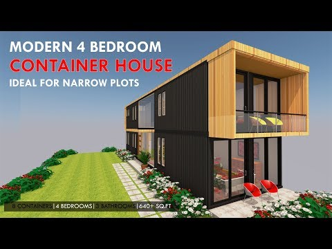4 Bedroom Shipping Container House Prefab for a Narrow Plot with an Indoor Garden + Floor plans.