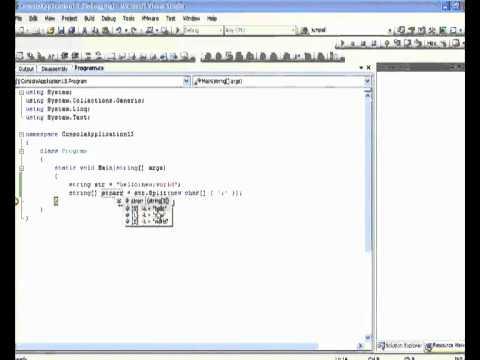 C# split string function