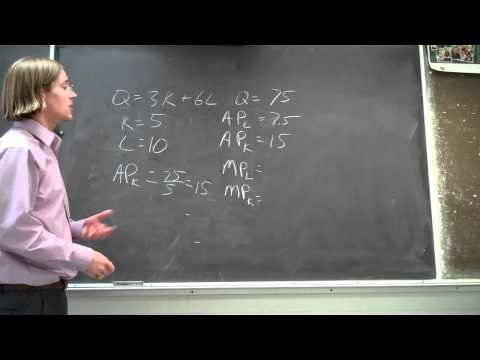 Average Product and Marginal Product of Capital and Labor - Sample Problem