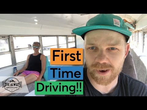 Drove Our Skoolie For the First Time, And I Didn't Crash!! | School Bus Conversion Firsts