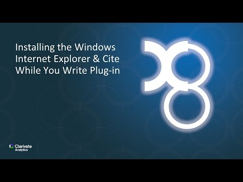 Installing the Windows Internet Explorer & Cite While You Write Plug-in