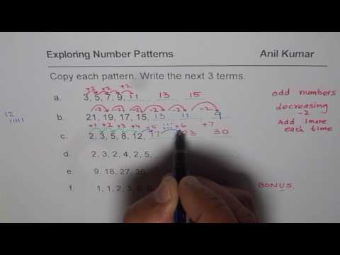 Write Next Three Terms in Number Patterns