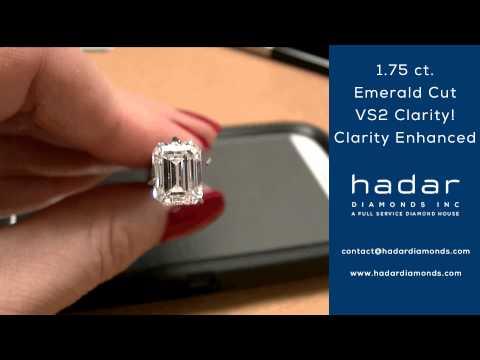 Clarity Enhanced Emerald Cut Diamond by Hadar Diamonds | 1.75 ct Emerald Cut