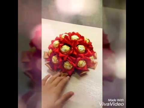 18 Red satin flower bouquet Ferrero Roche without handle