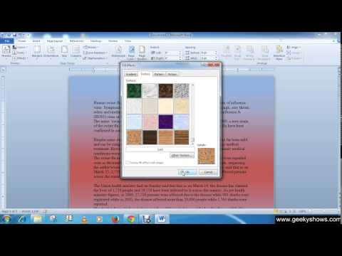 Microsoft Office Word 2010 Add Background Color, Gradient, Texture, Pattern, Picture