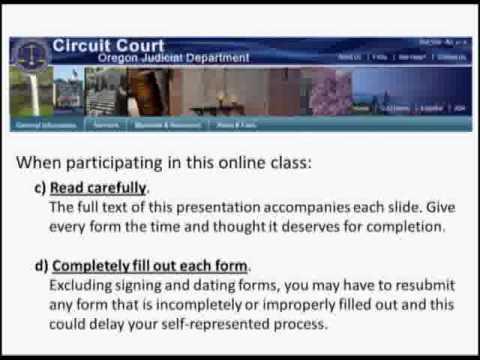 Divorce w/Kids Orientation Part 1 - Oregon Courts