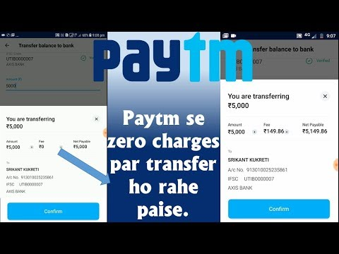 No Charges on Paytm wallet to saving bank account transfer