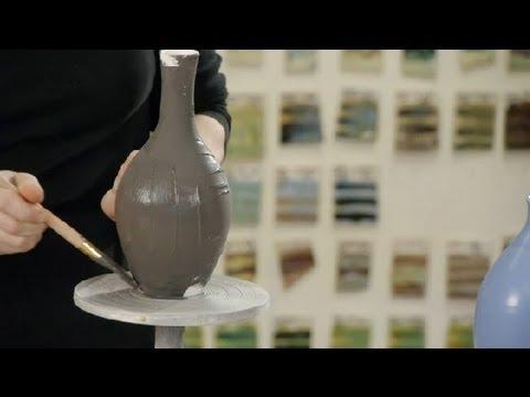 Brushing a Glaze on Pottery : Making Pottery