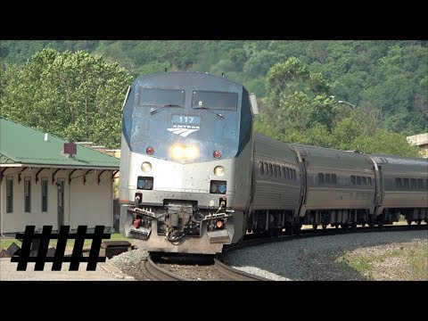Amtrak Pennsylvanian P42DC 117 at Tyrone Station PT 222 on the Pittsburgh Line at RR Crossing