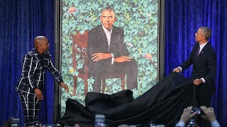Artist Kehinde Wiley behind Obama portrait