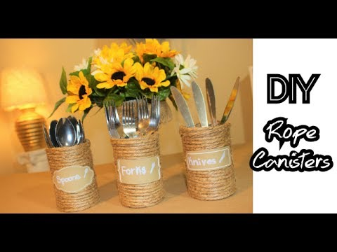 DIY DOLLAR TREE: ROPE SILVERWARE HOLDERS | KITCHEN ORGANIZER CANISTERS || Chanelle Novosey