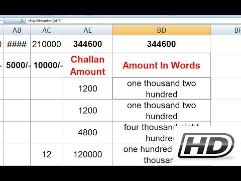 SpellNumber Formula - Numbers Into Words - Microsoft Excel Training Online